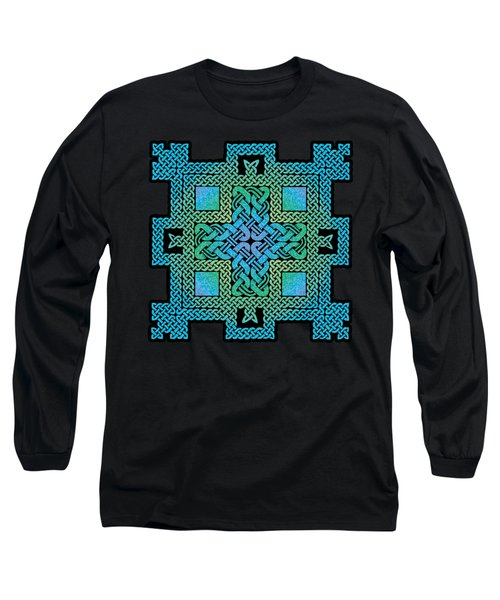 Long Sleeve T-Shirt featuring the mixed media Celtic Castle by Kristen Fox