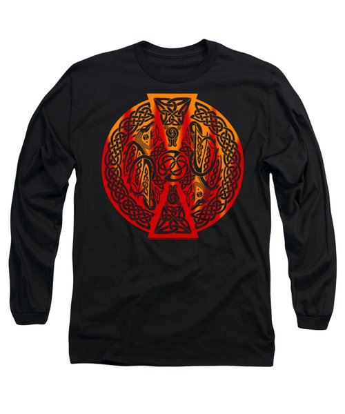 Long Sleeve T-Shirt featuring the mixed media Celtic Dragons Fire by Kristen Fox