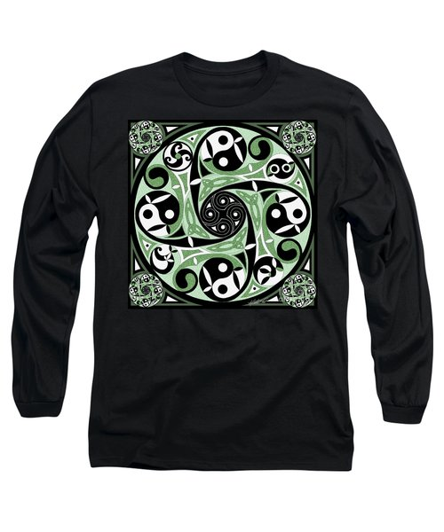 Long Sleeve T-Shirt featuring the mixed media Celtic Spiral Stepping Stone by Kristen Fox