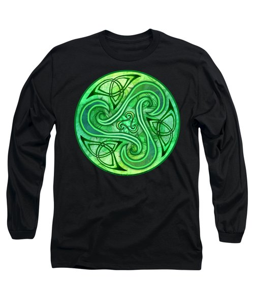 Long Sleeve T-Shirt featuring the mixed media Celtic Triskele by Kristen Fox