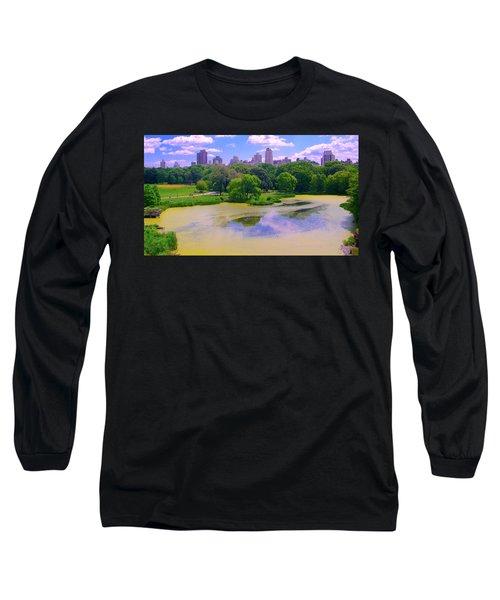 Central Park And Lake, Manhattan Ny Long Sleeve T-Shirt
