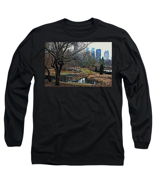 Long Sleeve T-Shirt featuring the photograph Central Park In January by Sandy Moulder