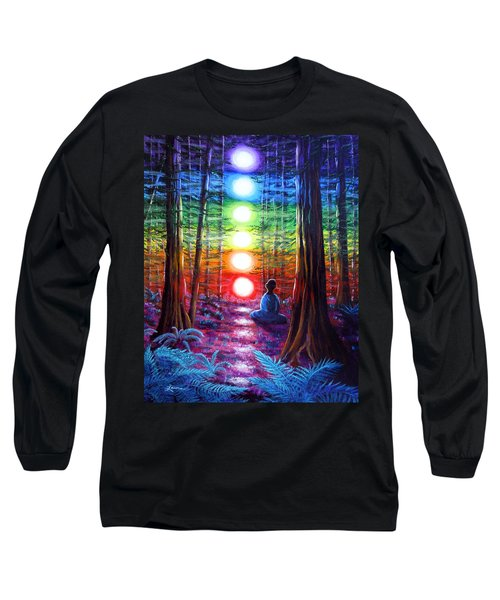 Chakra Meditation In The Redwoods Long Sleeve T-Shirt by Laura Iverson