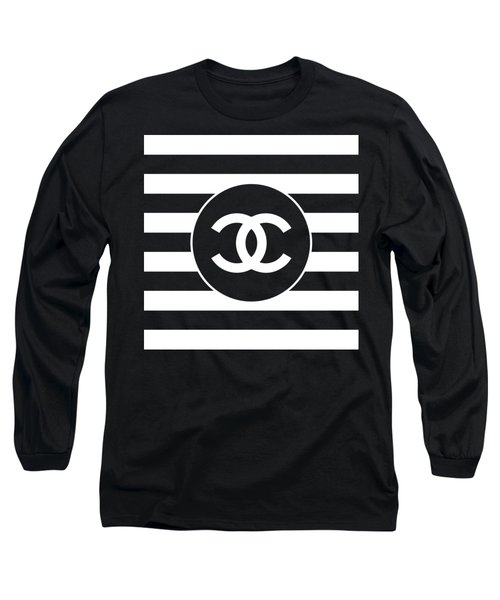 Chanel - Stripe Pattern - Black And White 2 - Fashion And Lifestyle Long Sleeve T-Shirt