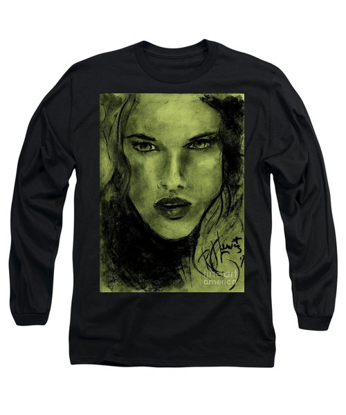 Long Sleeve T-Shirt featuring the drawing char-Carol by P J Lewis