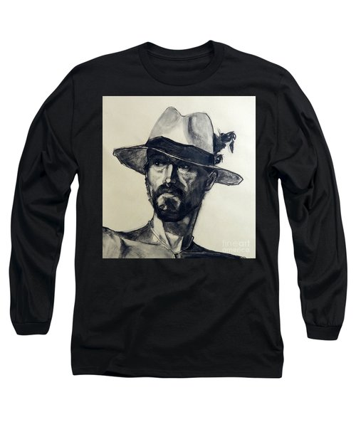 Charcoal Portrait Of A Man Wearing A Summer Hat Long Sleeve T-Shirt