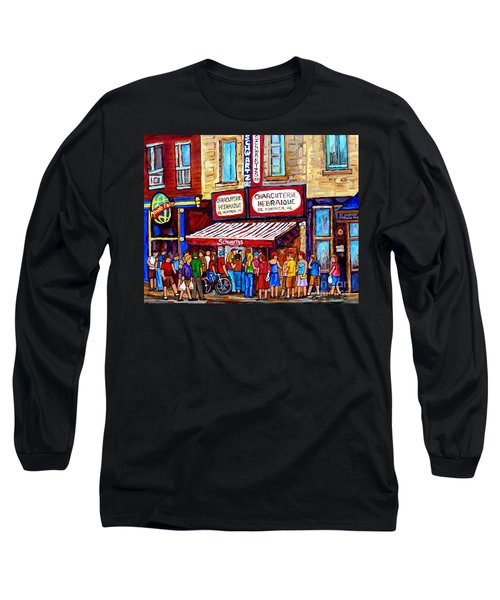 Charcuterie Hebraique Schwartz Line Up Waiting For Smoked Meat Montreal Paintings Carole Spandau     Long Sleeve T-Shirt