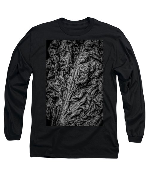 Chard Leaf In Black And White Long Sleeve T-Shirt