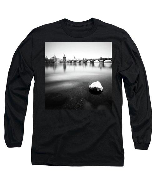 Charles Bridge During Winter Time With Frozen River, Prague, Czech Republic Long Sleeve T-Shirt