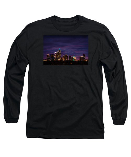 Charlotte, North Carolina Winter Sunset Long Sleeve T-Shirt by Serge Skiba