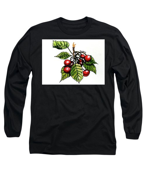 Long Sleeve T-Shirt featuring the painting Cherries by Terry Banderas
