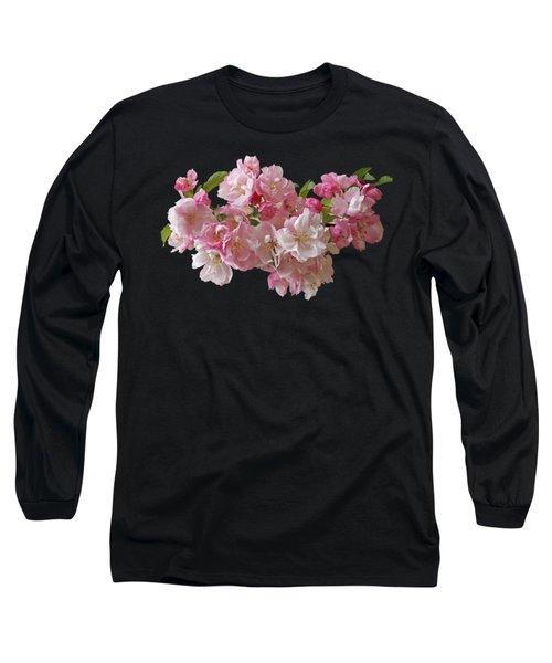 Cherry Blossom On Black Long Sleeve T-Shirt by Gill Billington