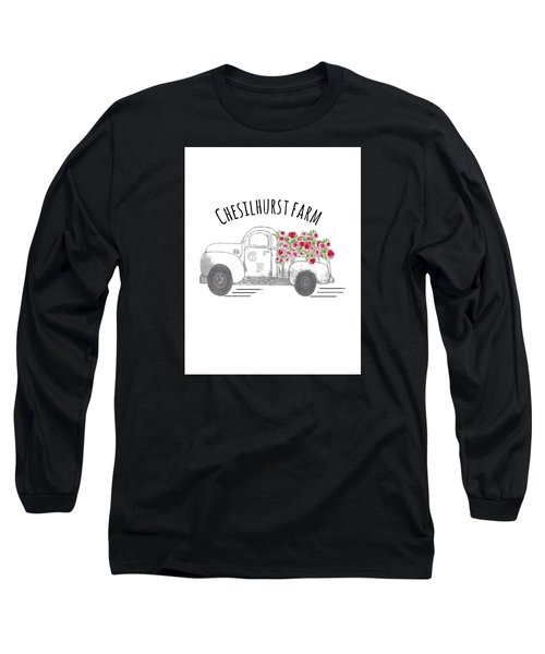 Long Sleeve T-Shirt featuring the drawing Chesilhurst Farm by Kim Kent