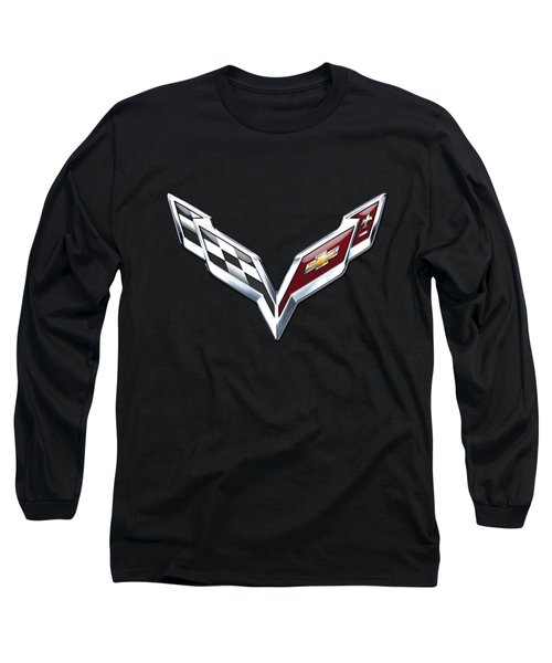 Chevrolet Corvette - 3d Badge On Black Long Sleeve T-Shirt by Serge Averbukh