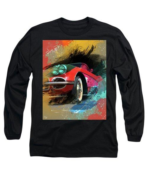 Chevy Corvette Digital Art Long Sleeve T-Shirt by Ron Grafe