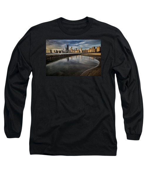 Chicago Beach And Skyline With A Person For Scale Long Sleeve T-Shirt