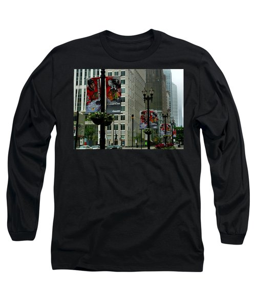 Chicago Blackhawk Flags Long Sleeve T-Shirt