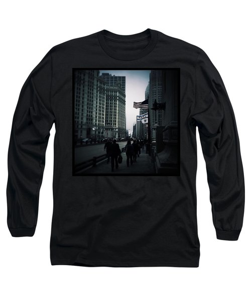 Chicago City Fog Long Sleeve T-Shirt by Frank J Casella