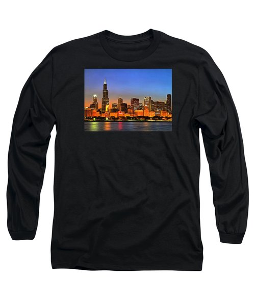 Chicago Dusk Long Sleeve T-Shirt by Charmaine Zoe