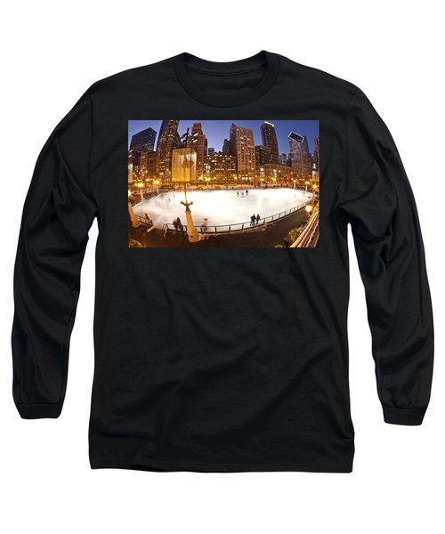 Chicago Ice Rink And Skyline At Dusk Long Sleeve T-Shirt