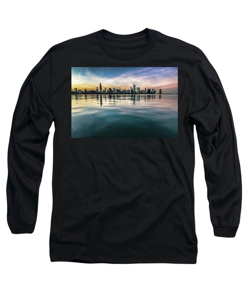Chicago Skyline And Fish At Dusk Long Sleeve T-Shirt