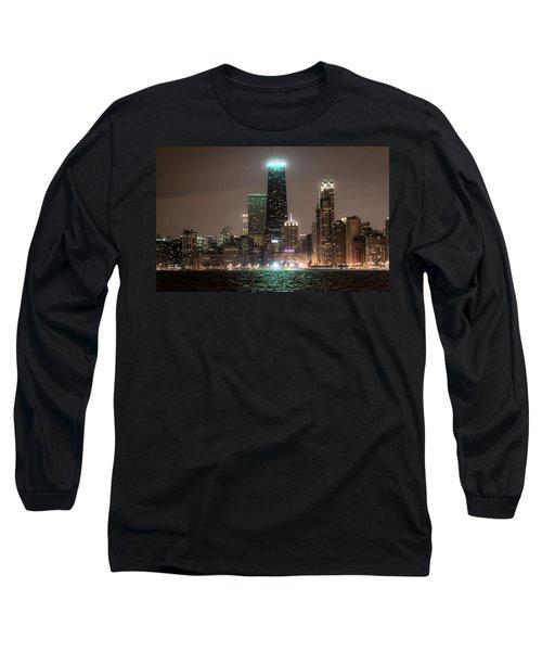 Chicago Skyline At Night North Ave Beach V2 Dsc1732 Long Sleeve T-Shirt by Raymond Kunst