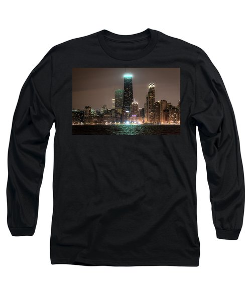 Chicago Skyline At Night North Ave Beach V2 Dsc1732 Long Sleeve T-Shirt