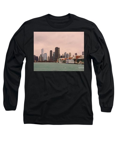 Chicago Skyline Long Sleeve T-Shirt by Elizabeth Coats