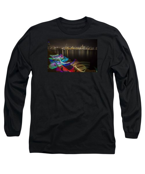Chicago Skyline With Pixel Stick Painting Long Sleeve T-Shirt