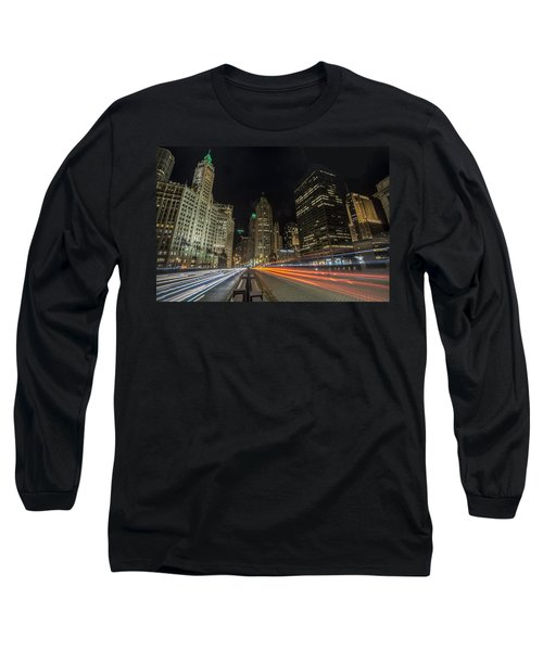 Chicago's Mag Mile Night Streaks Long Sleeve T-Shirt