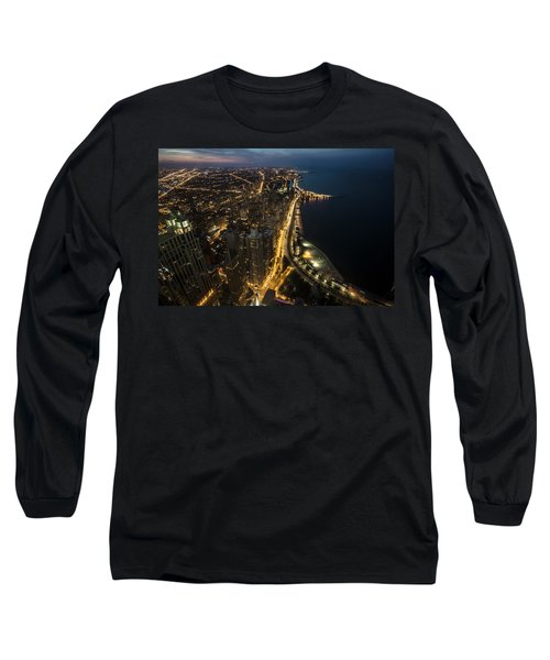 Chicago's North Side From Above At Night  Long Sleeve T-Shirt