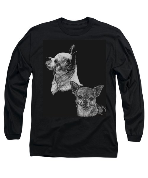 Long Sleeve T-Shirt featuring the drawing Chihuahua by Rachel Hames