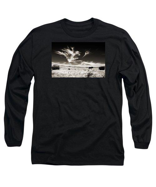 Chihuahuan Desert In Sepia Long Sleeve T-Shirt by Allen Sheffield