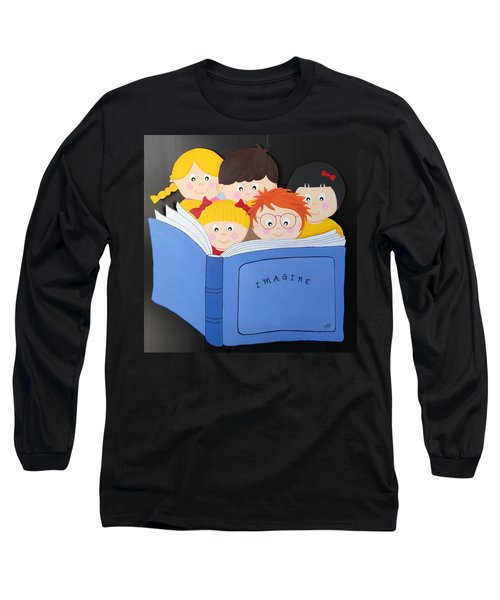 Children Reading Book Long Sleeve T-Shirt by Brenda Bonfield