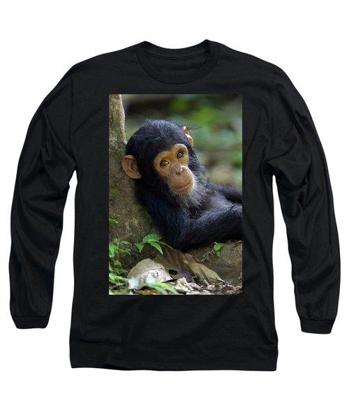 Chimpanzee Pan Troglodytes Baby Leaning Long Sleeve T-Shirt