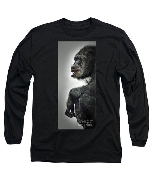 Chimpanzee Profile Vignetee Effect Long Sleeve T-Shirt by Jim Fitzpatrick