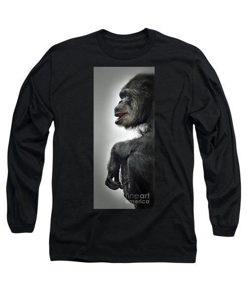 Chimpanzee Profile Vignetee Effect Long Sleeve T-Shirt