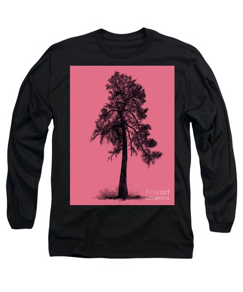 Long Sleeve T-Shirt featuring the drawing Chinese Pine Tree by Maja Sokolowska