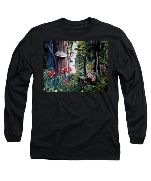 Chipmunk On A Log Long Sleeve T-Shirt by Renate Nadi Wesley