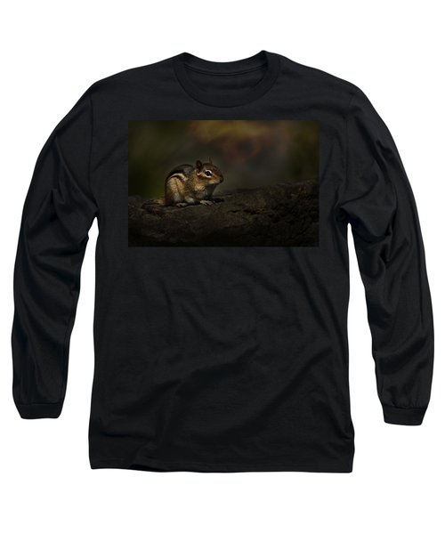 Long Sleeve T-Shirt featuring the photograph Chipmunk On Rock by Michael Cummings