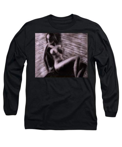 Long Sleeve T-Shirt featuring the painting Chocolate Maiden by Jarko Aka Lui Grande