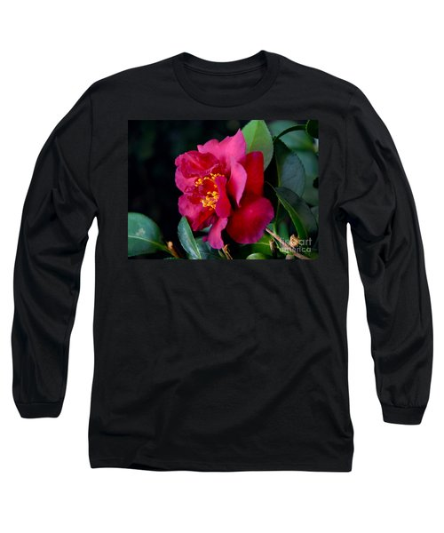 Christmas Camellia Long Sleeve T-Shirt by Marie Hicks