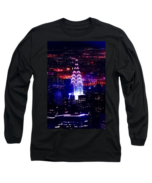 Chrysler Building At Night Long Sleeve T-Shirt by Az Jackson