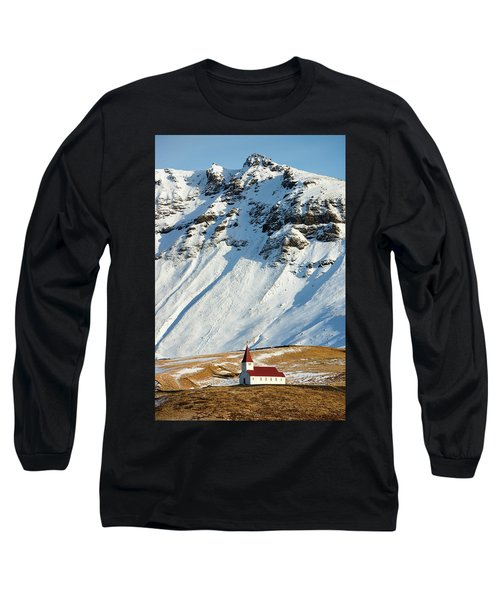 Long Sleeve T-Shirt featuring the photograph Church And Mountains In Winter Vik Iceland by Matthias Hauser