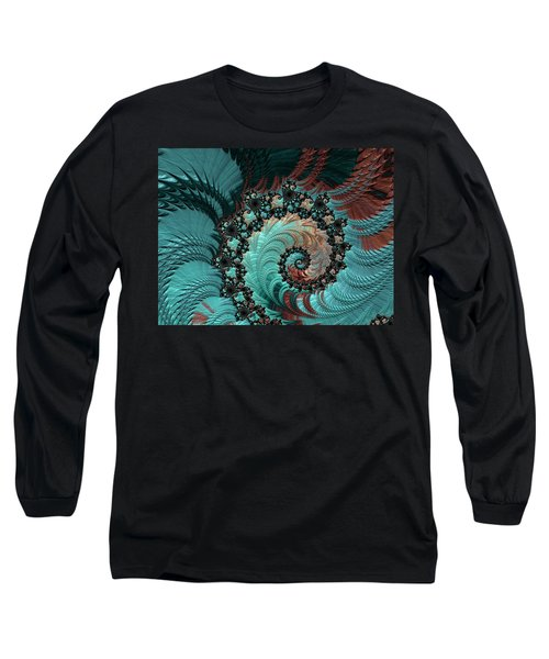 Churning Sea Fractal Long Sleeve T-Shirt by Bonnie Bruno