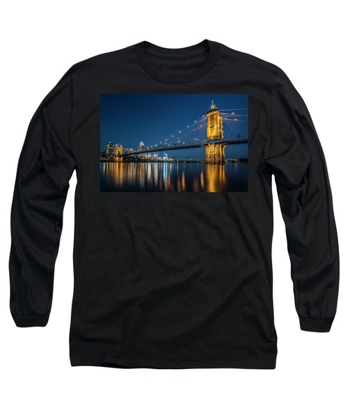 Cincinnati's Roebling Suspension Bridge At Dusk Long Sleeve T-Shirt