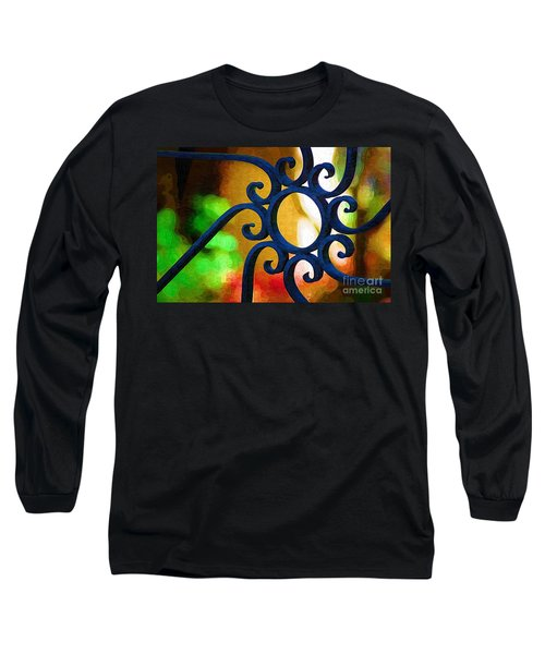 Circle Design On Iron Gate Long Sleeve T-Shirt by Donna Bentley