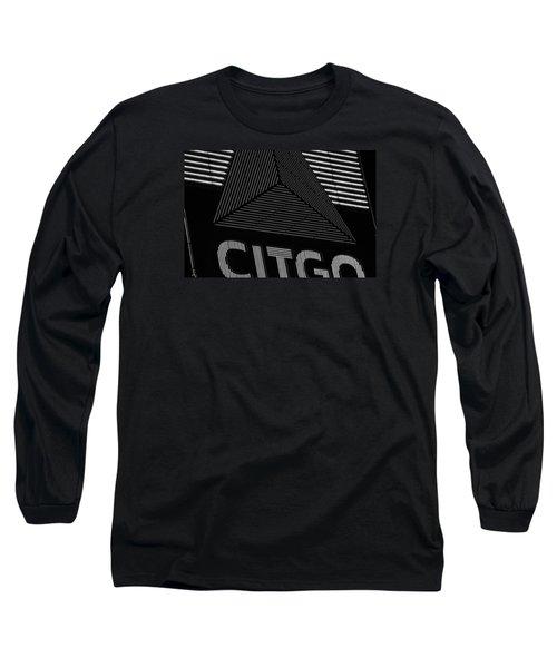 Citgo Sign Closeup Boston Ma Black And White Long Sleeve T-Shirt