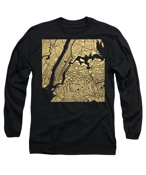 Cities Of Gold - Golden City Map New York On Black Long Sleeve T-Shirt