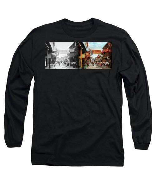 Long Sleeve T-Shirt featuring the photograph City - Coney Island Ny - Bowery Beer 1903 - Side By Side by Mike Savad